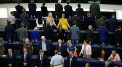 Members of the Brexit Party turn their back to the assembly as the European anthem is played during the first plenary session of the newly elected European Parliament in Strasbourg, France. Picture: REUTERS/Vincent Kessler