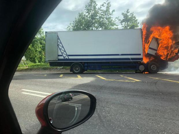 The large truck caught on fire at Carr's Hill, Carrigaline