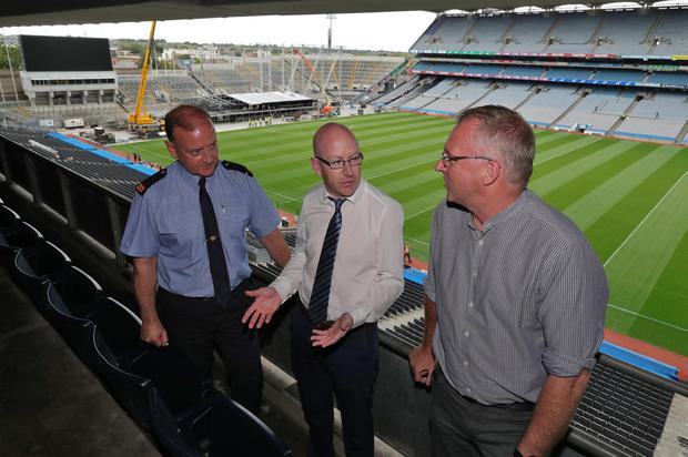 Inspector Tony Gallagher, Mountjoy Station, Eamonn Fox, Event Controller and Tony McGuinness, Head of Operations and Events, Croke Park pictured this afternoon at Croke Park for a joint media briefing to outline the safety and security arrangements along with the traffic management plan for the Westlife concerts taking place this weekend July at the stadium. Picture: Colin Keegan/Collins Dublin
