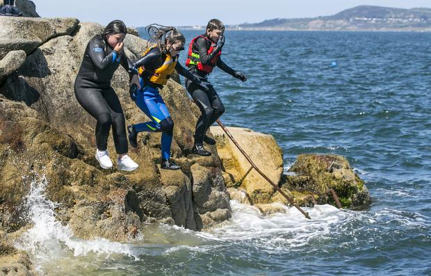 Locals enjoying the Forty Foot in Sandycove. Picture: Kyran O'Brien