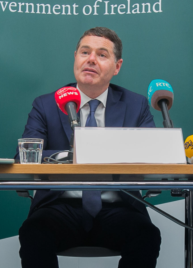 Finance Minister Paschal Donohoe after the launch of the summer statement. Photo: Collins