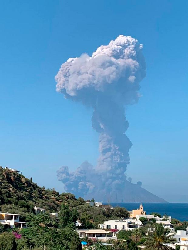 Photo from the Twitter feed of tourist Fiona Carter eruption of the Stromboli volcano in on the island. Photo: PA