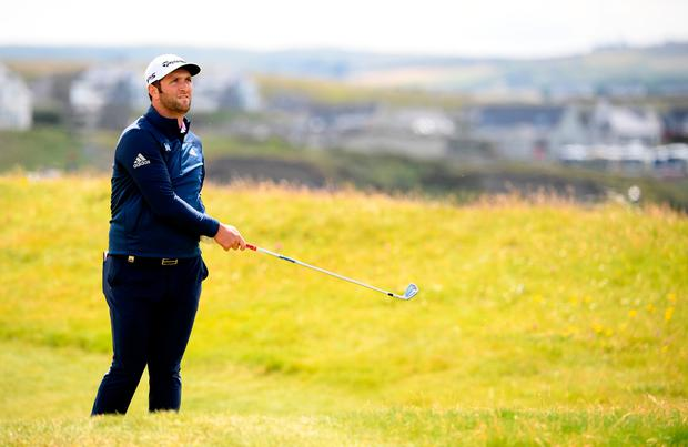 Eyes on the prize: Jon Rahm, here in action during the pro-am event at Lahinch yesterday, is fancied to be in contention come Sunday evening. Photo: Getty