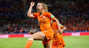 Netherlands' Jackie Groenen celebrates after scoring during the Women's World Cup semi-final against Sweden at the Stade de Lyon, France. Photo: AP Photo/Francisco Seco