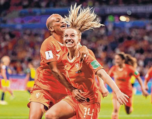 Jackie Groenen celebrates after scoring the Netherlands' extra-time winner. Photo: Robert Cianflone/Getty Images