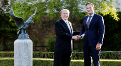 Greetings: Newly appointed US Ambassador to Ireland Edward F Crawford greets Taoiseach Leo Varadkar at the Ambassador's Residence during an Independence Day Party in the Phoenix Park last night. Photo: Steve Humphreys