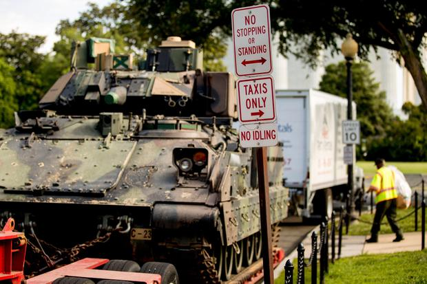 One of two Bradley Fighting Vehicles is parked nearby the Lincoln Memorial for President Donald Trump's 'Salute to America' event honoring service branches on Independence Day, Wednesday, July 3, 2019, in Washington. (AP Photo/Andrew Harnik)
