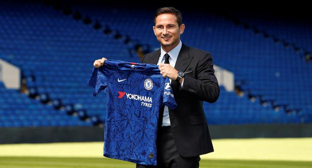 Frank Lampard is unveiled as Chelsea manager at Stamford Bridge, London today. Photo: Reuters/John Sibley