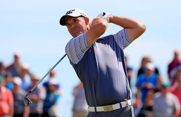 Pádraig Harrington is pictured during day one of the 2019 Dubai Duty Free Irish Open at Lahinch Golf Club. Photo: Donall Farmer/PA Wire.