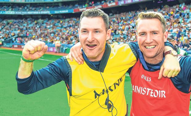Double act: Laois manager Eddie Brennan and selector Niall Corcoran (left) celebrate. Photo: Sportsfile