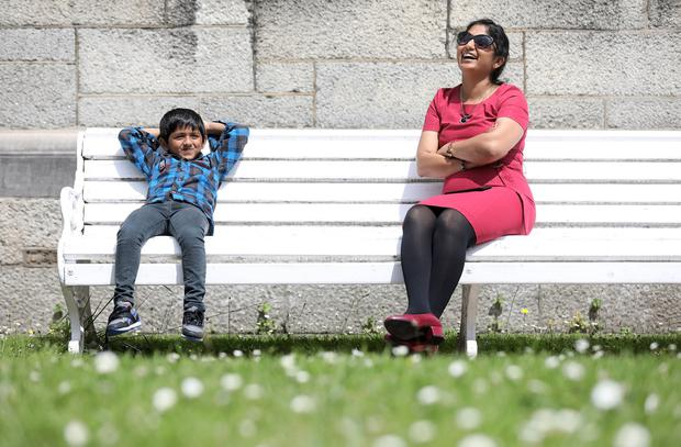 Career path: One of the 34 migrant teacher graduates, Swapna Dunna, originally from India, with her son Jeshurun (5). Photo: JULIEN BEHAL PHOTOGRAPHY