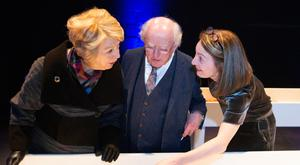Presidential seal of approval: RTÉ's 'Sunday Miscellany' radio programme celebrated 50 years of broadcasting recently. President Michael D Higgins and his wife Sabina were shown through programme archives by executive producer Clíodhna Ní Anluain. PHOTO: KINLAN PHOTOGRAPHY