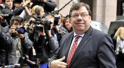 Brian Cowen arrives for an European Union summit on October 28, 2010 at the European Council headquarters in Brussels. Photo credit: GEORGES GOBET/AFP/Getty Images