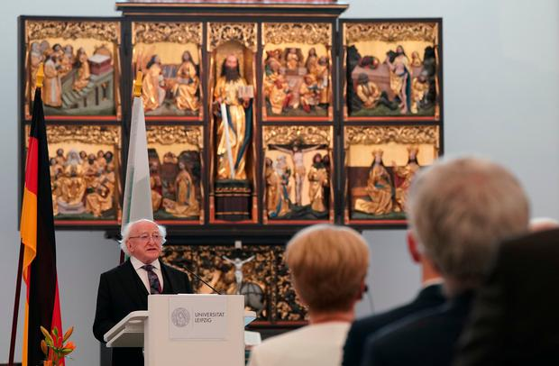 Ireland's President Michael D Higgins gives a speech at the Paulinerkirche church of the university of Leipzig. Photo: Peter Endig / dpa / AFP