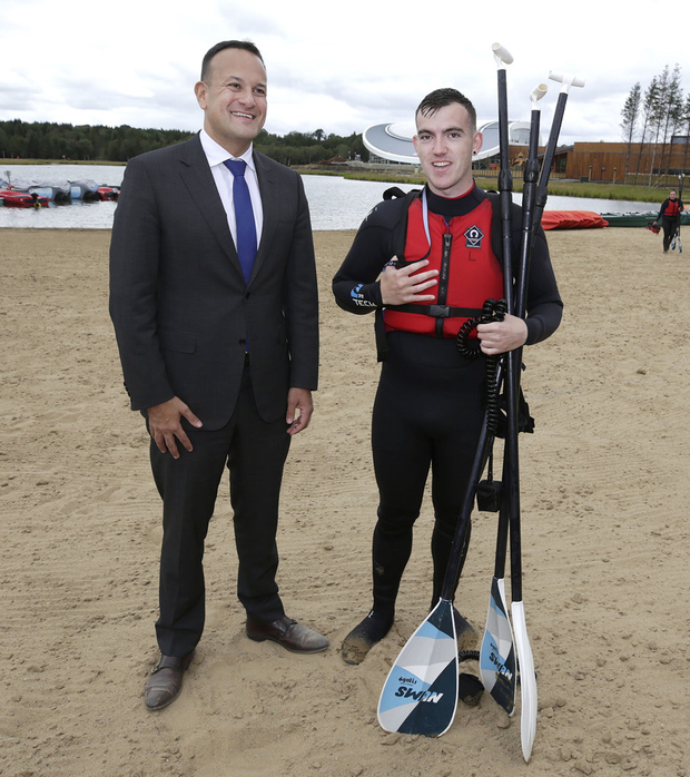 Making a splash: Taoiseach Leo Varadkar (left) with David Murray, a member of the sports team at Center Parcs in Longford. Photo: Damien Eagers / INM