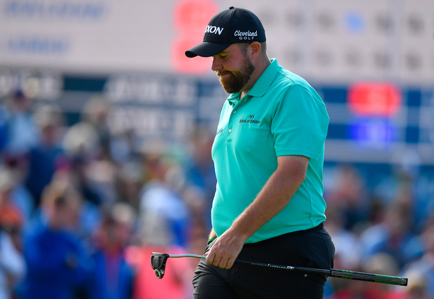 Shane Lowry on the 18th green during yesterday's Irish Open. Photo: Sportsfile