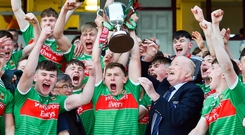 Mayo captain Aidan Cosgrove lifts the cup following the Electric Ireland Connacht MFC final win over Galway in Tuam last night. Photo: Sportsfile