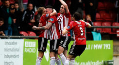 David Parkhouse of Derry City, centre, celebrates with team-mates Ciaran Harkin, Darren McCauley and Greg Sloggett after scoring his side's first goal during the SSE Airtricity League Premier Division match against Dundalk at the Ryan McBride Brandywell Stadium in Derry. Photo by Oliver McVeigh/Sportsfile