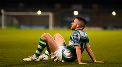 A dejected Jack Byrne of Shamrock Rovers following the SSE Airtricity League Premier Division match between Shamrock Rovers and Sligo Rovers at Tallaght Stadium. Photo by Ben McShane/Sportsfile