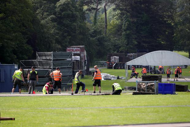 Workers helping to set up the concert site at Marlay Park last week. Photo: Colin Keegan, Collins Dublin