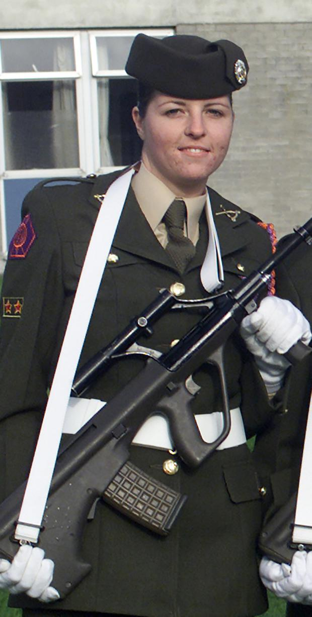 Smith pictured during her days in the Defence Forces