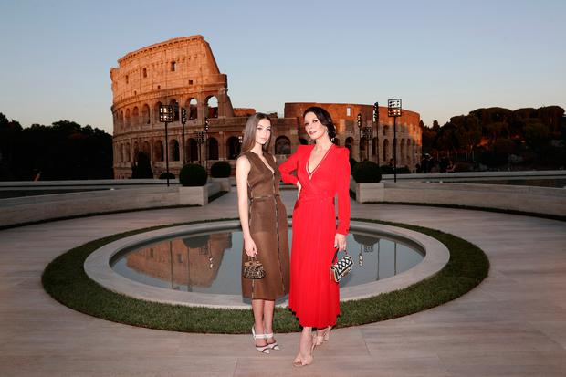 Catherine Zeta Jones and her daughter Carys Zeta Douglas attend the Cocktail at Fendi Couture Fall Winter 2019/2020 on July 04, 2019 in Rome, Italy. (Photo by Vittorio Zunino Celotto/Getty Images for Fendi)