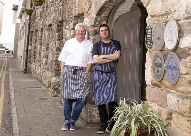 Paul Flynn and Ian O'Doherty at The Tannery restaurant, Dungarvan, Co Waterford, and inset below, head chef Sam Burfield. Photo: Mary Browne