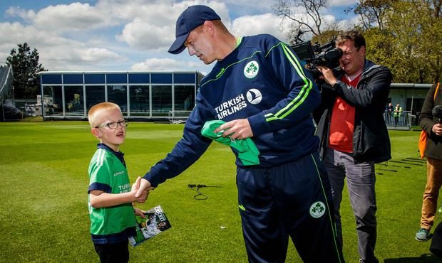 Match day mascot Oisin Gilbert with Kevin O'Brien