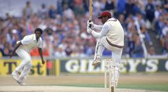 Gordon Greenidge strikes a familiar pose during what was the heyday for both the opener and the West Indies team. Photo: Adrian Murrell /Allsport