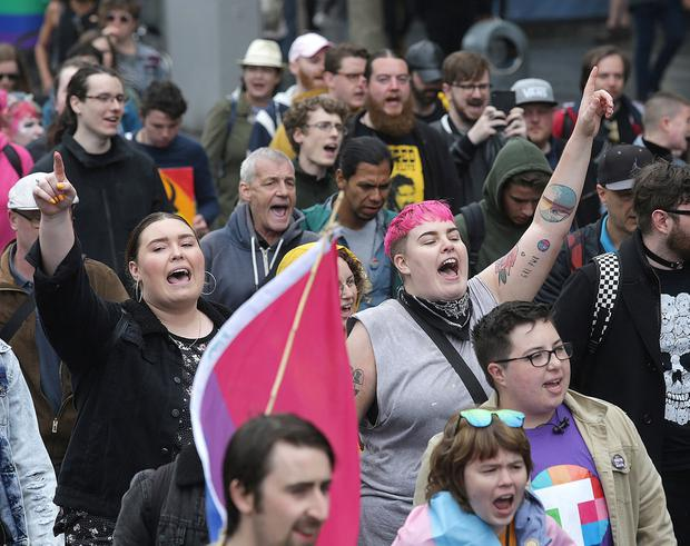 The second annual Trans Pride parade in Dublin City centre. Picture credit; Damien Eagers / INM