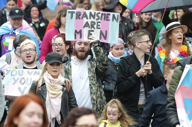 The second annual Trans Pride parade passes through Dublin City centre. Picture credit; Damien Eagers / INM
