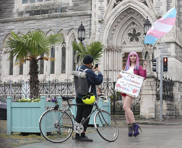 Sonia kolasinska, from Dublin has her photograph taken by Rach Reid, at the second annual Trans Pride parade passes through Dublin City centre. Picture credit; Damien Eagers / INM