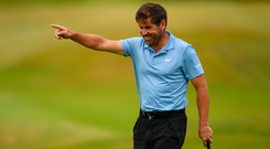 Robert Rock of England celebrates a birdie putt on the 17th hole during day three of the 2019 Dubai Duty Free Irish Open at Lahinch Golf Club in Lahinch, Clare. Photo by Ramsey Cardy/Sportsfile