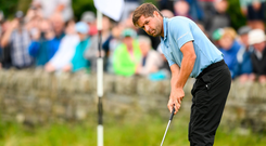 Robert Rock of England putts on the 18th during day three of the 2019 Dubai Duty Free Irish Open at Lahinch Golf Club in Lahinch, Clare. Photo by Ramsey Cardy/Sportsfile