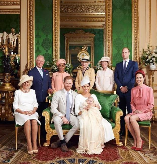 In this official christening photograph supplied by the Duke and Duchess of Sussex, Prince Harry, Duke of Sussex, Meghan, Duchess of Sussex with their son, Archie Mountbatten-Windsor pose for a photograph with and (L-R) Camilla, Duchess of Cornwall, Prince Charles, Prince of Wales, Ms Doria Ragland, Lady Jane Fellowes, Lady Sarah McCorquodale, Prince William, Duke of Cambridge and Catherine, Duchess of Cambridge in the Green Drawing Room at Windsor Castle on July 06, 2019 in Windsor, United Kingdom. (Photo by Chris Allerton/SussexRoyal)