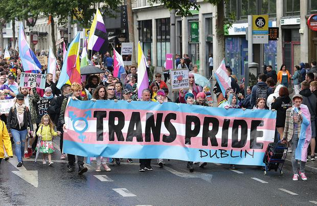 The Trans Pride parade in Dublin. Photo: Damien Eagers