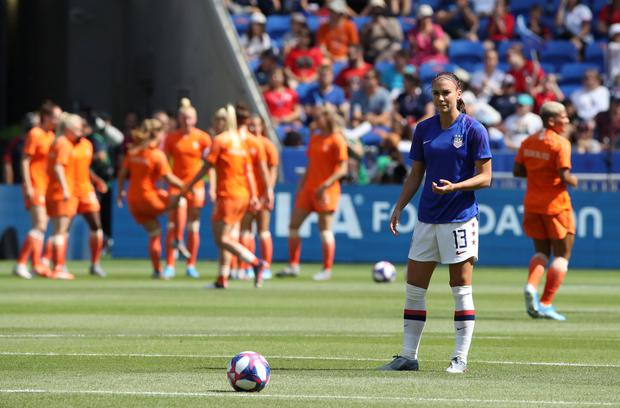 USA's Alex Morgan during the warm up before the Women's World Cup final at the Groupama Stadium, Lyon, France. Photo: REUTERS/Denis Balibouse