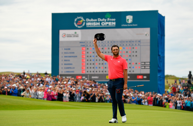 Jon Rahm of Spain after finishing his round during day four of the 2019 Dubai Duty Free Irish Open at Lahinch Golf Club in Lahinch, Clare. Photo by Ramsey Cardy/Sportsfile