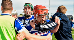 Pádraig Delaney, centre right, and Aaron Dunphy, centre left, both of Laois, celebrate with team-mates and supporters
