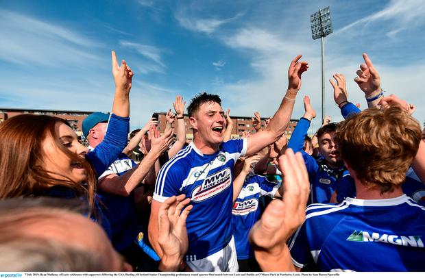 7 July 2019; Ryan Mullaney of Laois celebrates with supporters following the GAA Hurling All-Ireland Senior Championship preliminary round quarter-final match between Laois and Dublin at OMoore Park in Portlaoise, Laois. Photo by Sam Barnes/Sportsfile
