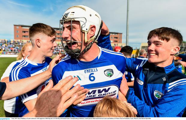 7 July 2019; Ryan Mullaney of Laois celebrates with supporters following the GAA Hurling All-Ireland Senior Championship preliminary round quarter-final match between Laois and Dublin at O'Moore Park in Portlaoise, Laois. Photo by Sam Barnes/Sportsfile