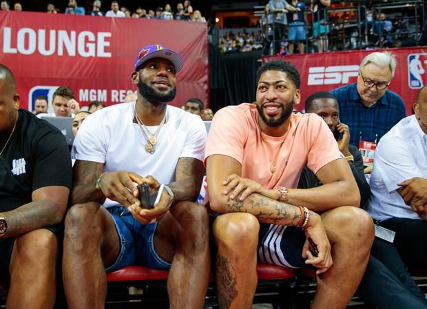 LeBron James and Anthony Davis look on from the sidelines during an NBA Summer League game in Las Vegas. Photo: USA TODAY Sports