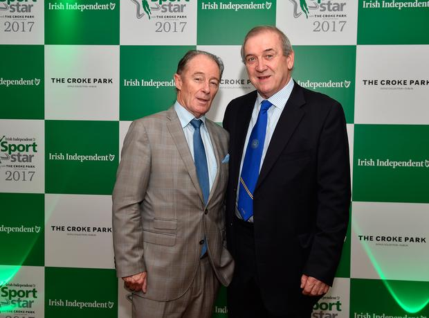 Eoin Hand with fellow former manager Brian Kerr. Photo: Sportsfile