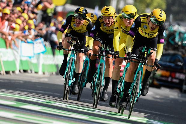 Team Jumbo-Visma blitzed the field in yesterday's team time trial to keep stage one winner Mike Teunissen in yellow after stage two of the Tour de France. Photo: AFP/Getty Images