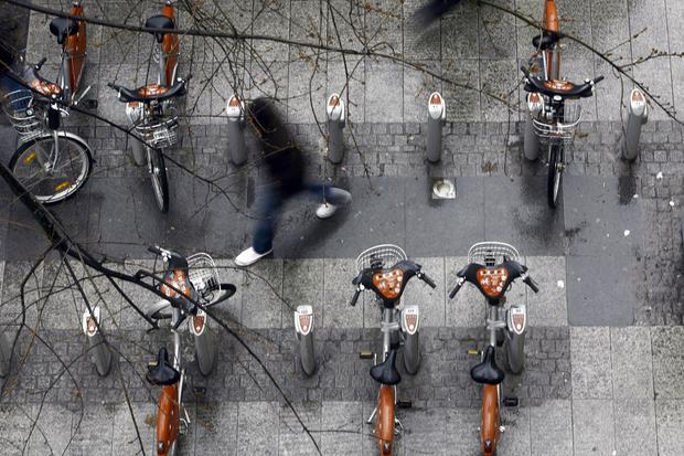 The group also pioneered the global craze of renting city centre bikes, first introduced in Vienna but, like the bus shelters, now spread far and wide. Photo: AFP/Getty Images