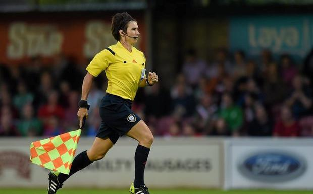 Talented: Michelle O'Neill often works as an assistant referee in the SSE Airtricity League