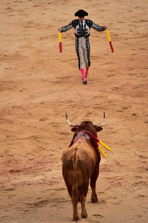 A banderillero prepares to put banderillas in one Puerto San Lorenzo's bull during bullfight at the San Fermin Festival in Pamplona, northern Spain, Sunday, July 7, 2019. Revelers from around the world flock to Pamplona every year to take part in the eight days of the running of the bulls. (AP Photo/Alvaro Barrientos)