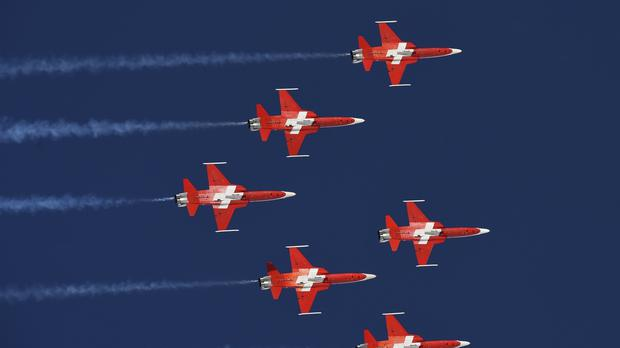The Swiss Air Force Patrouille Suisse aerobatic team (Marco Tacca/AP)