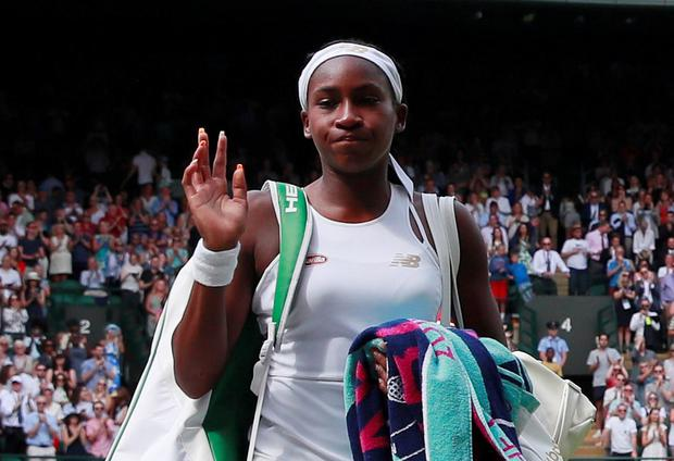 Cori 'Coco' Gauff of the US waves to the Wimblesdon crowd after losing her fourth round match against Romania's Simona Halep: Photo: Reuters/Andrew Couldridge
