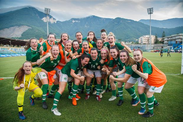 Ireland celebrate after their 2019 World University Games Women's Soccer quarter-final win over China. Photo: Inpho/Tommy Dickson